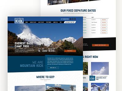 Mountainkick - Travel Homepage button ux ui nepal trek everest landing homepage travel website