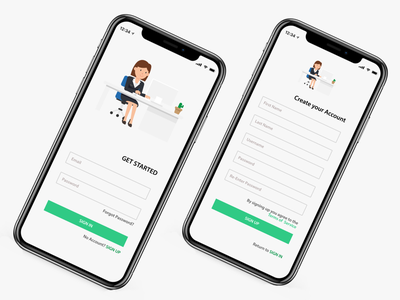 Sign-in & Sign-Up: Prototype in Description user experience user interface adobexd figma invisionstudio invision studio invision ux design ui design ux ui green flat ios signin signup