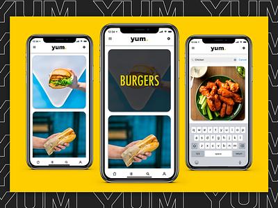 yum. black gold yellow iphone ios invision studio invision web mobile app design ux design ui design ux ui