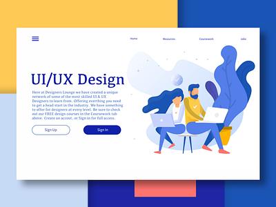 Designers Lounge Landing Page cta landing page ux ui ux design ui design web design