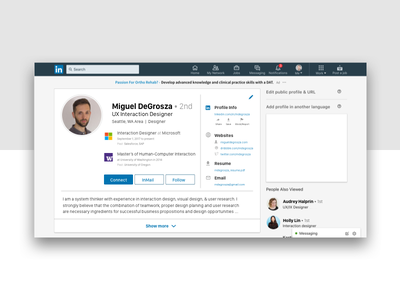 Daily UI 006 - Linkedin Profile sketch profile linkedin dailyui