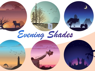 Evening Shades - Illustration and compositions silhouettes colors palette graphics vector design illustration