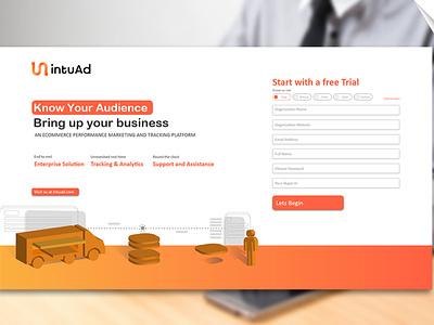 Landing Page design for IntuAd.com enterprise app logo ui adnetwork illustration vector graphics design landing page interaction design ui design interfacedesign