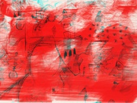 red washed work on paper