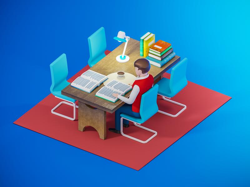 Knowledge desk reading library desk knowledge reading isometric education 3dsmax v-ray illustration 3drender