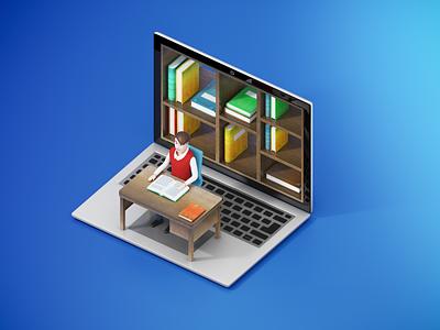 Knowledge Laptop library books laptop education 3dsmax illustration v-ray 3drender