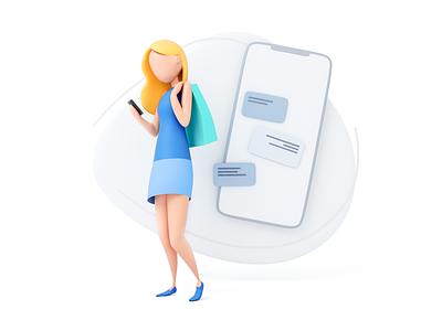 Girl phone chat woman mobile app 3dsmax 3dmodel illustration v-ray 3drender