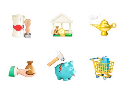 Monety Cards Graphics inheritance lamp shopping cart money piggy bank bank 3dsmax illustration v-ray 3drender