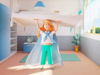 Monety Chore Making the Bed education 3dsmax illustration v-ray 3drender