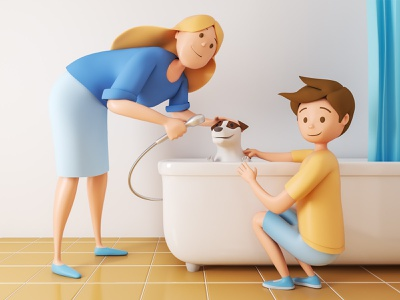 Monety Chore Wash the pet 3dmodel 3dsmax illustration v-ray 3drender