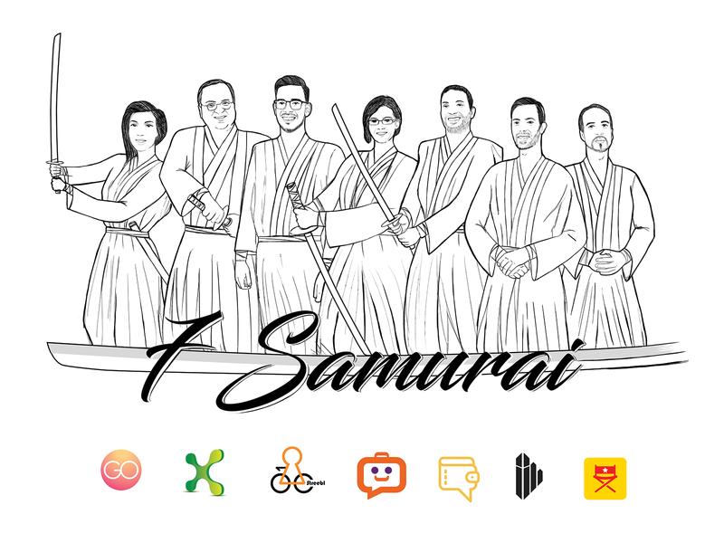 7Samurai T-Shirt Illustration drawing sketch illustration