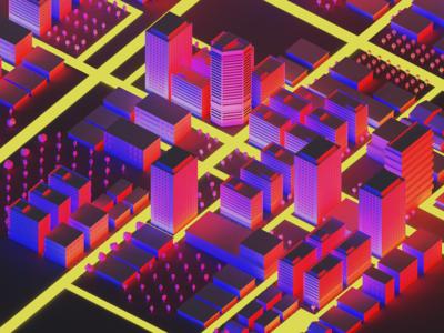 City Night Contrast 01 3drender v-ray illustration