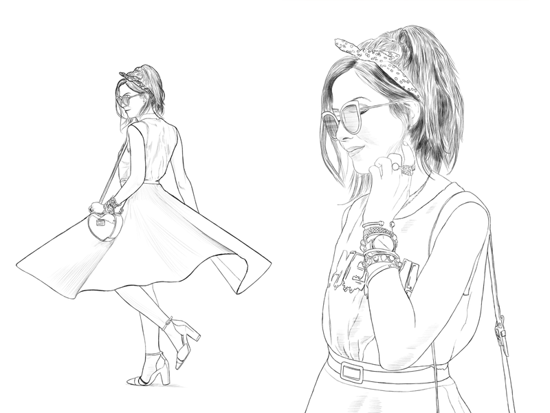 Oversketch Flávia White Midi Skirt lookbook dress fashion girl photoshop graphic oversketch sketch drawing illustration