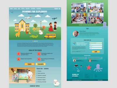 "Homepage for my course ""Drawing for Explorers"" children educational education webdesign website ui design"