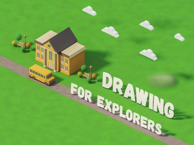 SCHOOL 01 lowpoly rendering education drawing 3dmodel v-ray illustration 3drender