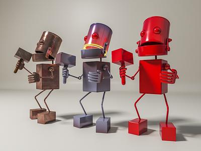 Wonder Trio metallic steampunk 3dsmax 3dmodel illustration v-ray 3drender
