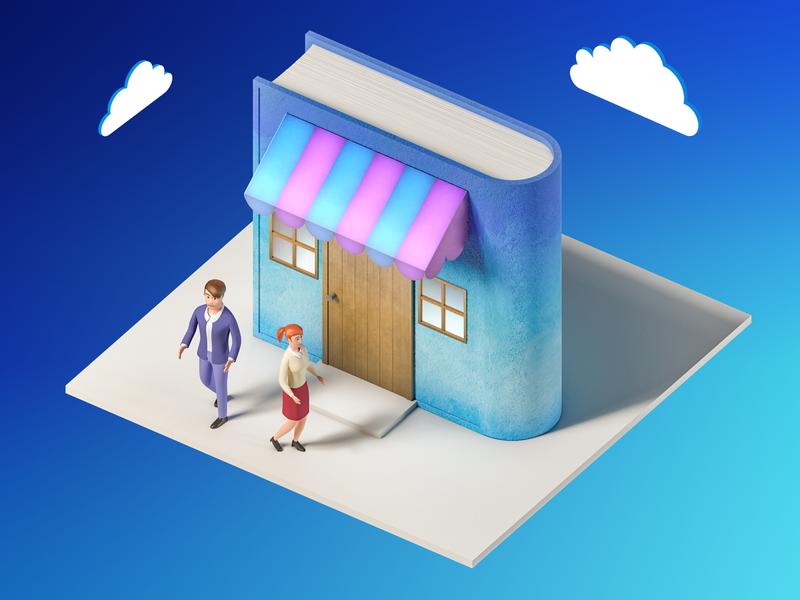 Bookshop isometric knowledge book education 3dsmax 3dmodel illustration v-ray 3drender