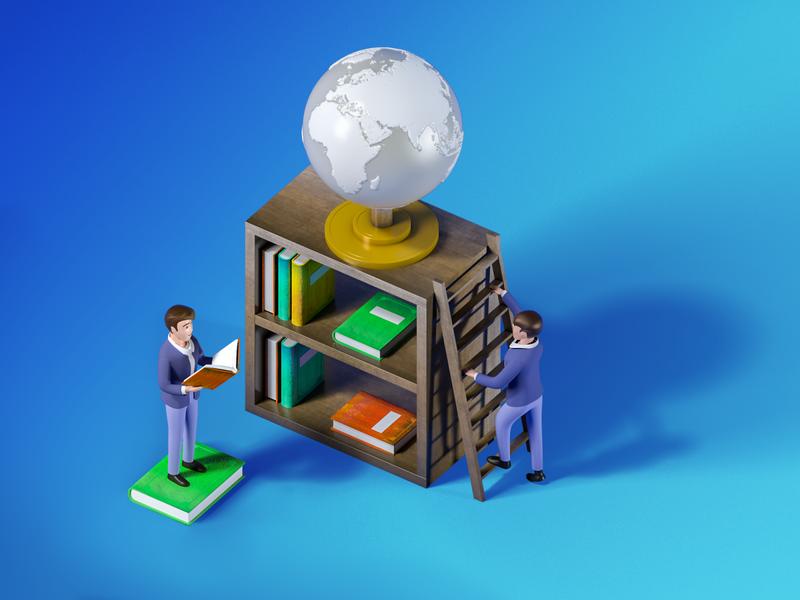 Knowledge Globe Library library books education 3dsmax 3dmodel illustration v-ray 3drender