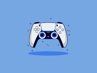 PlayStation 5 color sony gaming gamer gamepad game dualshock controller console adobe playstation5 playstation minimalist design illustrator vector illustration
