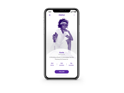 Daily UI 006 User Profile ui white ux user interface profile user purple profile user mobile app daily ui