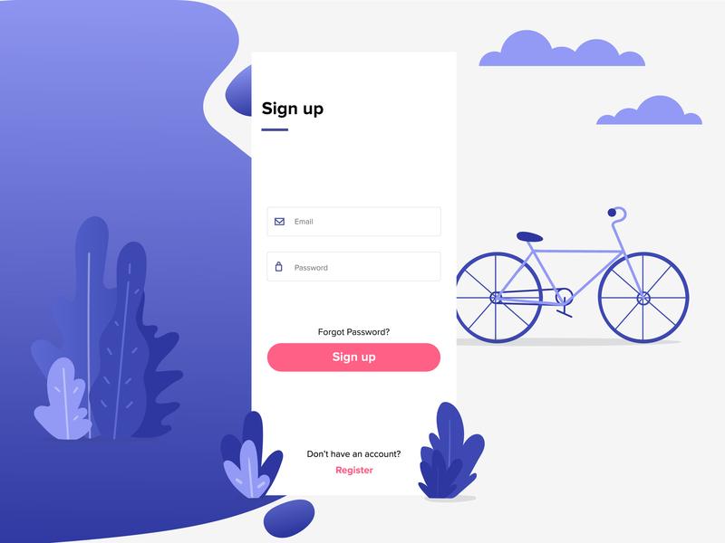 Bike Rental App - Sign Up ios mobile purple vector bicycle bike mobile app illustration app design daily app ux daily ui ui
