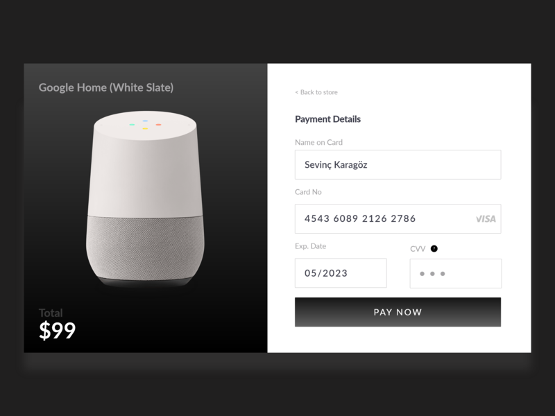 Credit Card Check Out - Google Home user inteface website redesign web credit card checkout creditcard payment google home illustration daily ux daily ui ui
