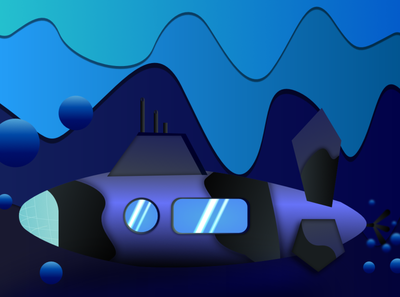 A submarine illustration affinity designer vector graphics gradients illustration 3d