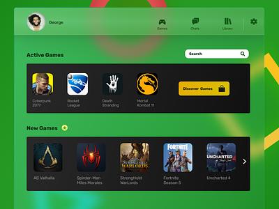 Gaming Hub game gaming glass effect glassmorphism gradient ux ui web design