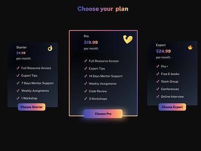 Dark Mode - Pricing Plans figma dark mode uxuidesign website gradient design ux ui web cards ui pricing plans