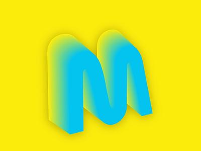 3D Letter M colorful illustrator typography gradient illustration vector design 3d