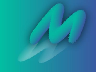 Furrr Letter illustration design art blending letter green blue fur effect gradient graphic design vector typography