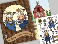 MIDFLORIDA Cashcows Birthday Card & Sticker Sheet