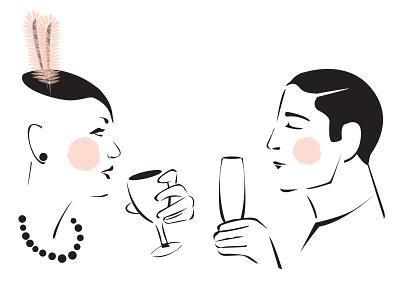 Wine & Champagne rosy cheeks hats fashion champagne wine gesture vector illustration