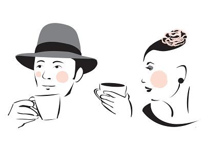Coffee & Tea rosy cheeks hats fashion tea coffee gesture vector illustration