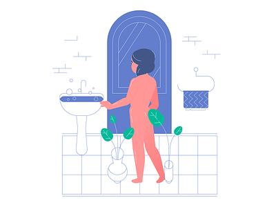 In the bath flat vector illustration vector art vectors rig motiongraphics illustration character 2d animation vector