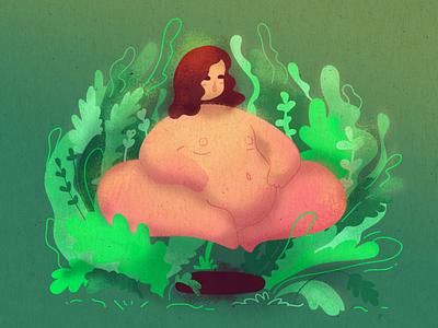 Girl and plants illustration art illustrations photoshop 2d print bodypositive cute character noise textures illustration
