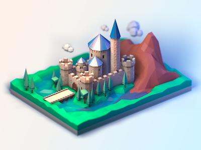 Castle isometric illustration c4d cinema4d 3dmodel 3d after effects castle