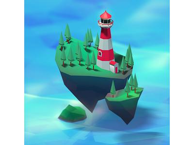Lighthouse illustration cute isometric art isometric lowpoly c4d cinema4d 3dmodel 3d lighthouse