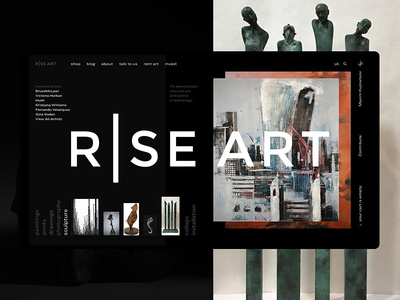 Rise Art Homepage Concept layout marketplace ecommerce gallery art riseart ux web interface concept ui