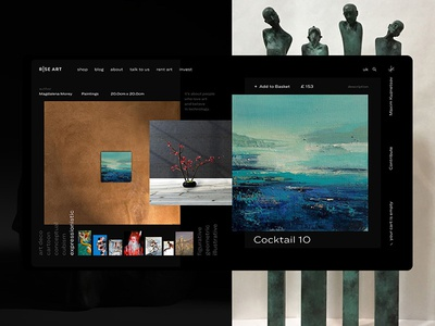 Rise Art Product Card web riseart layout marketplace card art product ecommerce interface minimal ui concept