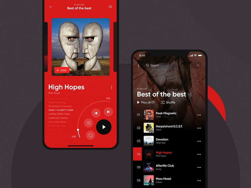 Music player layout play mobile interface playlist cover ui app music player