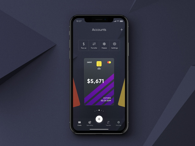Cradle: Accounts iphone x ios money app ux card fintech finance accounts banking ui