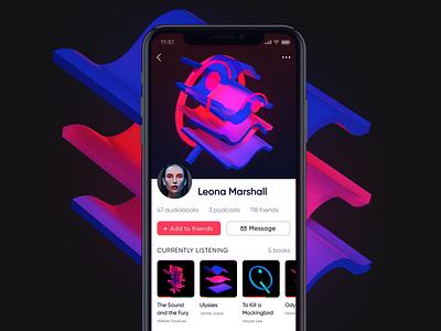 Audiobook app profile mobile ios vizualization footprint digital avatar profile music ux ui audiobook app