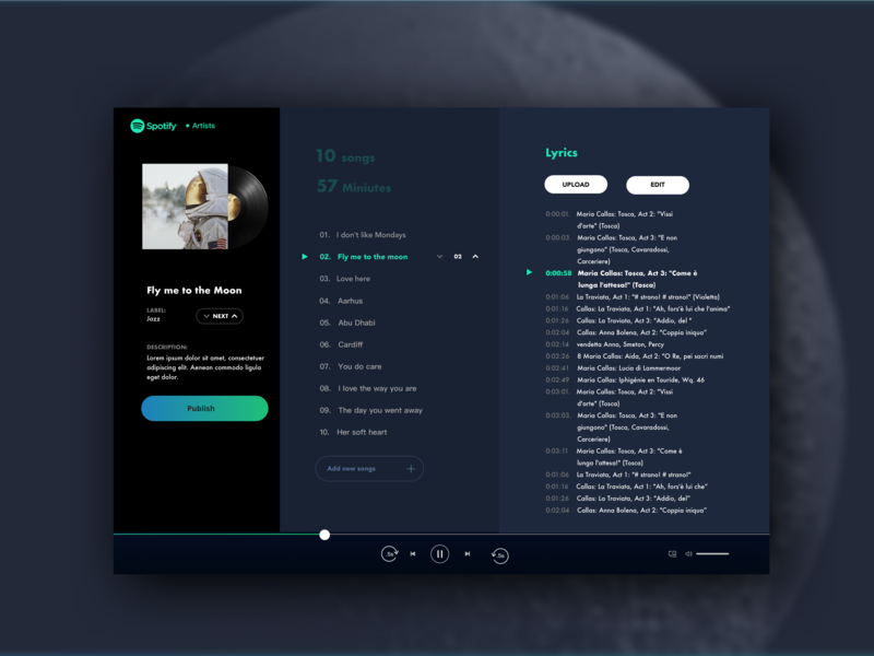 Spotify-Artist_Detailed Album Page Dribble musician spotify design spotify electric universe cool design artist music player music identity branding website web ux ui portrait minimal flat design sketch