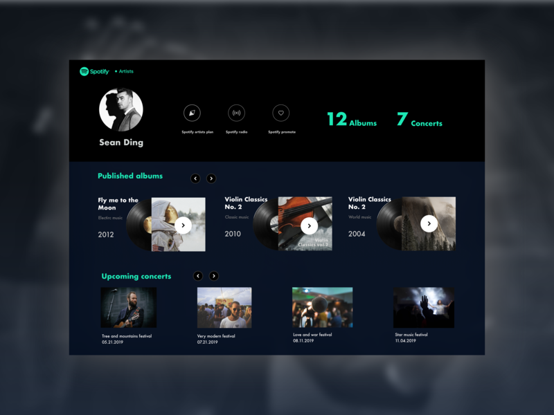Spotify-Artists_Main Album Page spotify design spotify musician music identity electric cool design artist website web ux ui portrait minimal flat design sketch