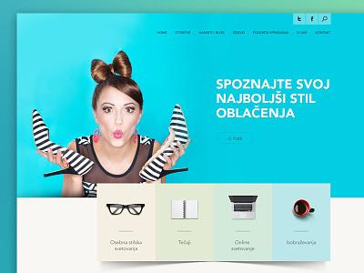 Fashion stylist photoshop girl shadow colourful blue stylist fashion web design