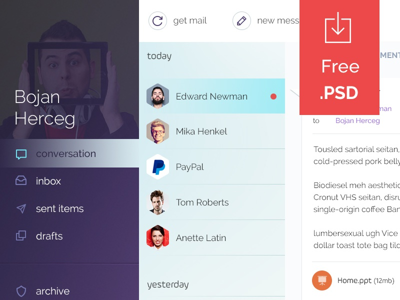 Mail Client - Free .psd app download ui blue purple user freebie free psd client web mail