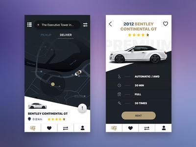 Exclusive car rental bentley ux map ui rental car gold psd app mobile