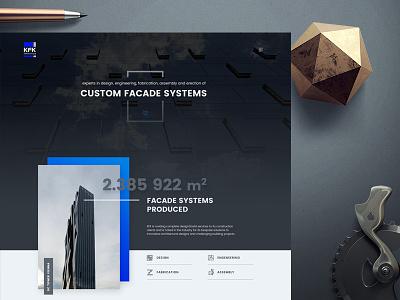 Facade Systems Landing clouds shadow blue design psd web landing company manufacture glass kfk