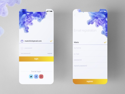 Login & register android ios ink app mobile iphone x yellow blue tint social register login